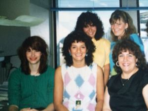 The First (and only) Year: Back row: Melissa, Jeanne Kelly. Front row: Cathy Lange, me, Jeanne Boss (missing: Robin).